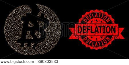 Mesh Polygonal Broken Bitcoin On A Black Background, And Deflation Grunge Ribbon Stamp Seal. Red Sta