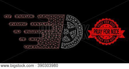 Mesh Network Car Wheel On A Black Background, And Pray For Nice Grunge Ribbon Stamp. Red Stamp Inclu