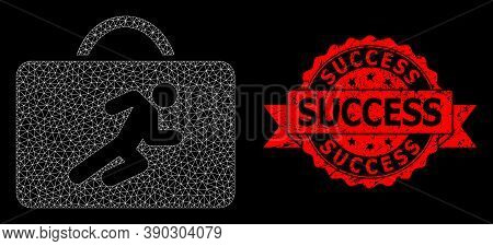 Mesh Network Career Case On A Black Background, And Success Rubber Ribbon Stamp. Red Stamp Contains