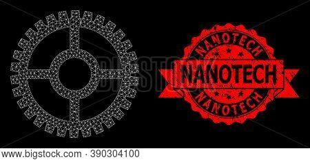 Mesh Net Clock Cog On A Black Background, And Nanotech Grunge Ribbon Seal. Red Seal Has Nanotech Tag