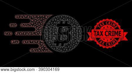 Mesh Polygonal Bitcoin Coin On A Black Background, And Tax Crime Dirty Ribbon Seal. Red Seal Include