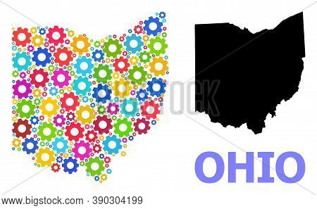 Vector Mosaic Map Of Ohio State Constructed For Workshops. Mosaic Map Of Ohio State Is Designed From