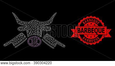 Mesh Polygonal Butchery On A Black Background, And Barbeque Scratched Ribbon Stamp Seal. Red Seal In