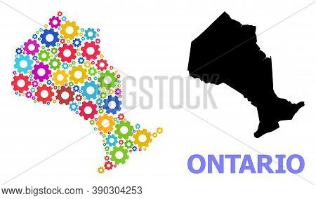 Vector Mosaic Map Of Ontario Province Combined For Services. Mosaic Map Of Ontario Province Is Organ