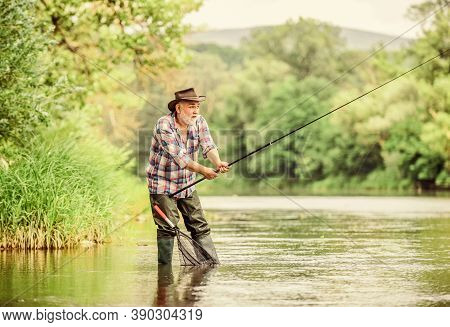 Fishers Have Long Rods. Retired Bearded Fisher. Trout Bait. Fisherman With Fishing Rod. Mature Man F