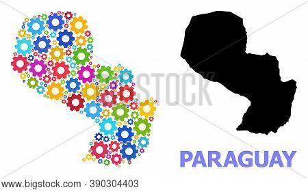 Vector Mosaic Map Of Paraguay Designed For Engineering. Mosaic Map Of Paraguay Is Constructed Of Sca