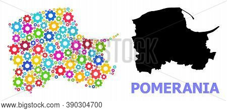 Vector Mosaic Map Of Pomerania Province Created For Engineering. Mosaic Map Of Pomerania Province Is