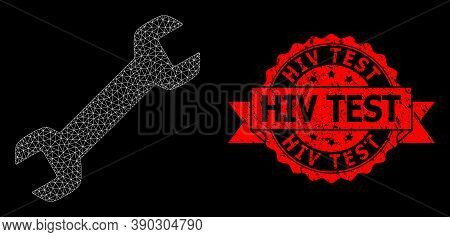Mesh Polygonal Wrench On A Black Background, And Hiv Test Rubber Ribbon Seal Imitation. Red Seal Has