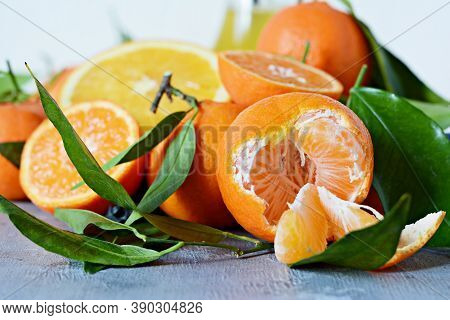 Citrus Fruits Orange, Lemon, Grapefruit, Mandarin, Lime. Fresh Fruits. Mixed Fruits Background. Heal