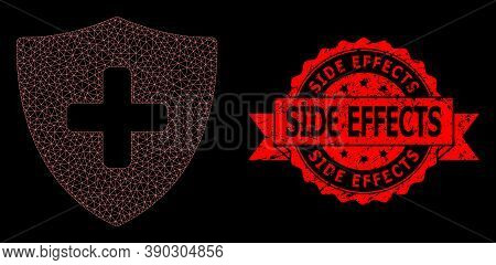 Mesh Polygonal Medical Shield On A Black Background, And Side Effects Textured Ribbon Watermark. Red