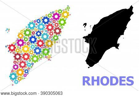 Vector Mosaic Map Of Rhodes Island Organized For Engineering. Mosaic Map Of Rhodes Island Is Created