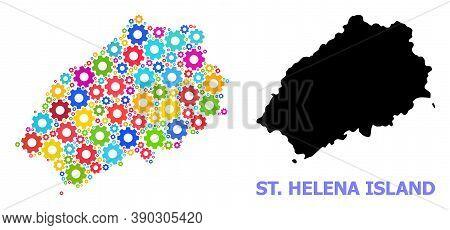 Vector Mosaic Map Of Saint Helena Island Designed For Workshops. Mosaic Map Of Saint Helena Island I