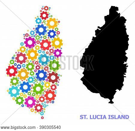 Vector Mosaic Map Of Saint Lucia Island Organized For Mechanics. Mosaic Map Of Saint Lucia Island Is
