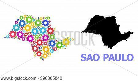 Vector Mosaic Map Of Sao Paulo State Organized For Services. Mosaic Map Of Sao Paulo State Is Shaped