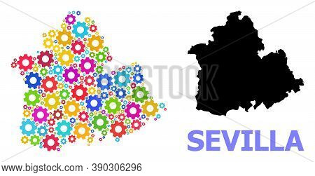 Vector Mosaic Map Of Sevilla Province Done For Industrial Apps. Mosaic Map Of Sevilla Province Is Co