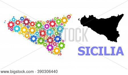 Vector Composition Map Of Sicilia Island Constructed For Engineering. Mosaic Map Of Sicilia Island I