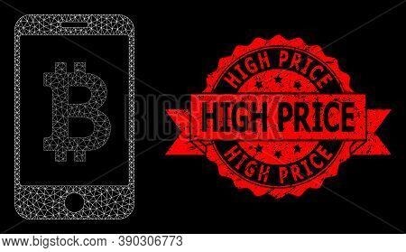 Mesh Polygonal Mobile Bitcoin Bank On A Black Background, And High Price Dirty Ribbon Stamp. Red Sta