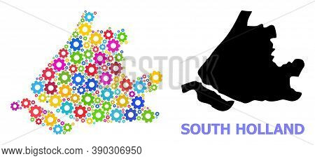 Vector Collage Map Of South Holland Done For Engineering. Mosaic Map Of South Holland Is Formed With