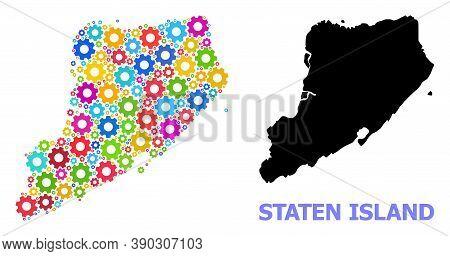 Vector Mosaic Map Of Staten Island Designed For Engineering. Mosaic Map Of Staten Island Is Created