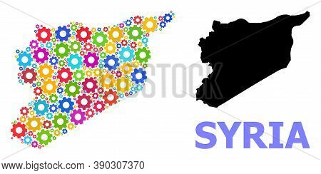 Vector Mosaic Map Of Syria Done For Mechanics. Mosaic Map Of Syria Is Done With Scattered Colorful G