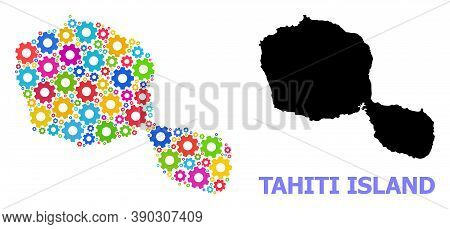 Vector Composition Map Of Tahiti Island Created For Engineering. Mosaic Map Of Tahiti Island Is Crea