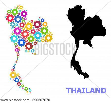 Vector Mosaic Map Of Thailand Combined For Services. Mosaic Map Of Thailand Is Constructed From Rand