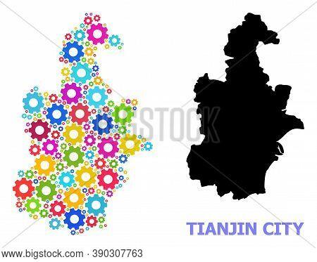 Vector Mosaic Map Of Tianjin Municipality Combined For Engineering. Mosaic Map Of Tianjin Municipali