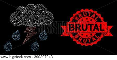 Mesh Polygonal Thunderstorm On A Black Background, And Brutal Unclean Ribbon Stamp. Red Stamp Contai