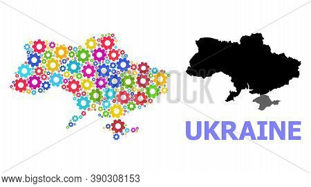 Vector Mosaic Map Of Ukraine Constructed For Industrial Apps. Mosaic Map Of Ukraine Is Designed From