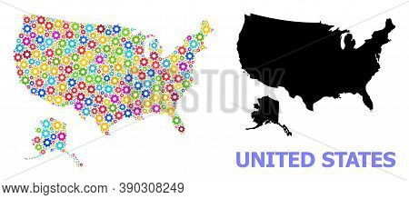 Vector Mosaic Map Of Usa And Alaska Done For Engineering. Mosaic Map Of Usa And Alaska Is Constructe