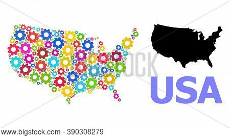 Vector Composition Map Of Usa Organized For Engineering. Mosaic Map Of Usa Is Constructed From Rando