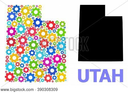 Vector Mosaic Map Of Utah State Done For Workshops. Mosaic Map Of Utah State Is Composed Of Random B