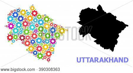 Vector Mosaic Map Of Uttarakhand State Created For Engineering. Mosaic Map Of Uttarakhand State Is D