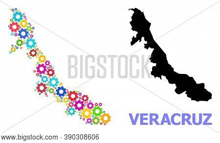 Vector Composition Map Of Veracruz State Designed For Engineering. Mosaic Map Of Veracruz State Is C