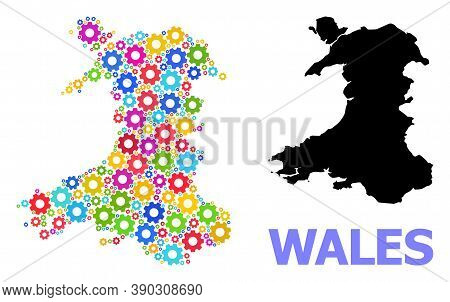 Vector Mosaic Map Of Wales Constructed For Engineering. Mosaic Map Of Wales Is Composed Of Scattered