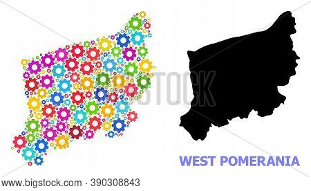 Vector Mosaic Map Of West Pomerania Province Constructed For Engineering. Mosaic Map Of West Pomeran