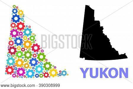 Vector Mosaic Map Of Yukon Province Organized For Mechanics. Mosaic Map Of Yukon Province Is Created