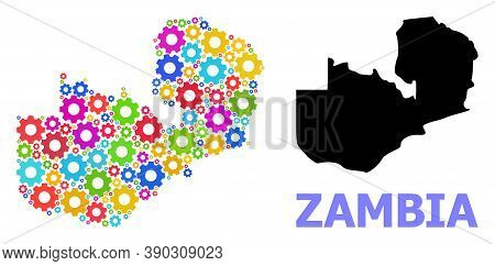 Vector Mosaic Map Of Zambia Designed For Workshops. Mosaic Map Of Zambia Is Organized Of Randomized
