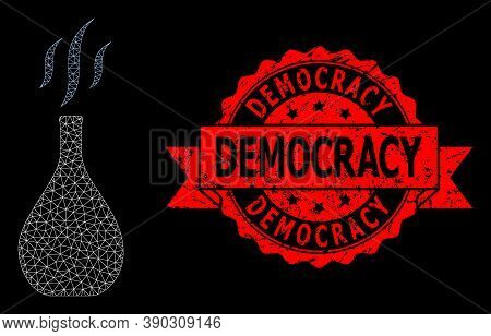 Mesh Polygonal Incense Vial On A Black Background, And Democracy Corroded Ribbon Watermark. Red Seal