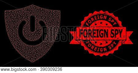 Mesh Network Shield Turn Off On A Black Background, And Foreign Spy Textured Ribbon Stamp Seal. Red