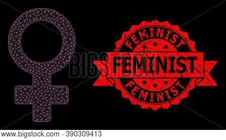Mesh Polygonal Female Symbol On A Black Background, And Feminist Textured Ribbon Stamp Seal. Red Sta
