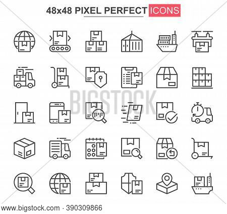 Delivery Service Thin Line Icon Set. Logistics And Shipping Outline Pictograms For Website And Mobil