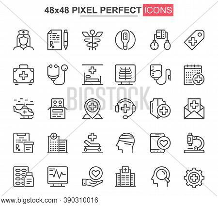 Medical Service Thin Line Icon Set. Online Consultation Outline Pictograms For Website And Mobile Ap