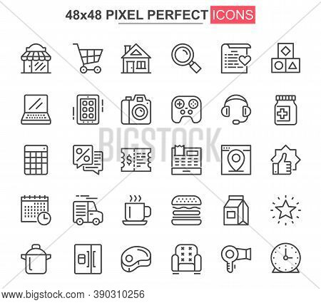 Shopping Thin Line Icon Set. Discount Offer And Retail Sale Outline Pictograms For Web And Mobile Ap