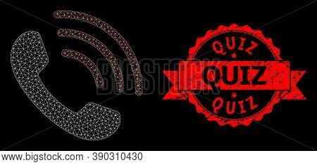 Mesh Net Phone Call On A Black Background, And Quiz Unclean Ribbon Stamp Seal. Red Stamp Seal Includ