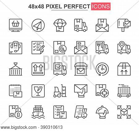 Delivery Thin Line Icons Set. Global And Local Shipping, Warehousing And Transportation Unique Desig