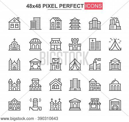 Building Thin Line Icons Set. Real Estate Property, Engineering And Construction Unique Design Icons