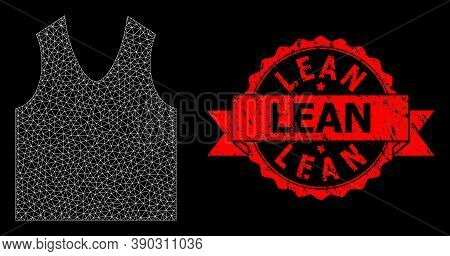 Mesh Polygonal Gilet On A Black Background, And Lean Dirty Ribbon Stamp Seal. Red Stamp Seal Has Lea