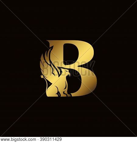 Griffin Silhouette Inside Gold Letter B. Heraldic Symbol Beast Ancient Mythology Or Fantasy. Creativ