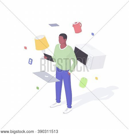 Man Configures Smart Home Devices Isometric Concept. Male Character With Tablet Is Testing Connectio